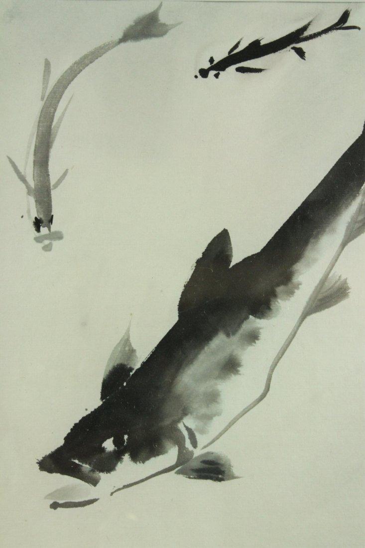 WC Fish Painting Framed Qi Baishi 1864-1957 - 2