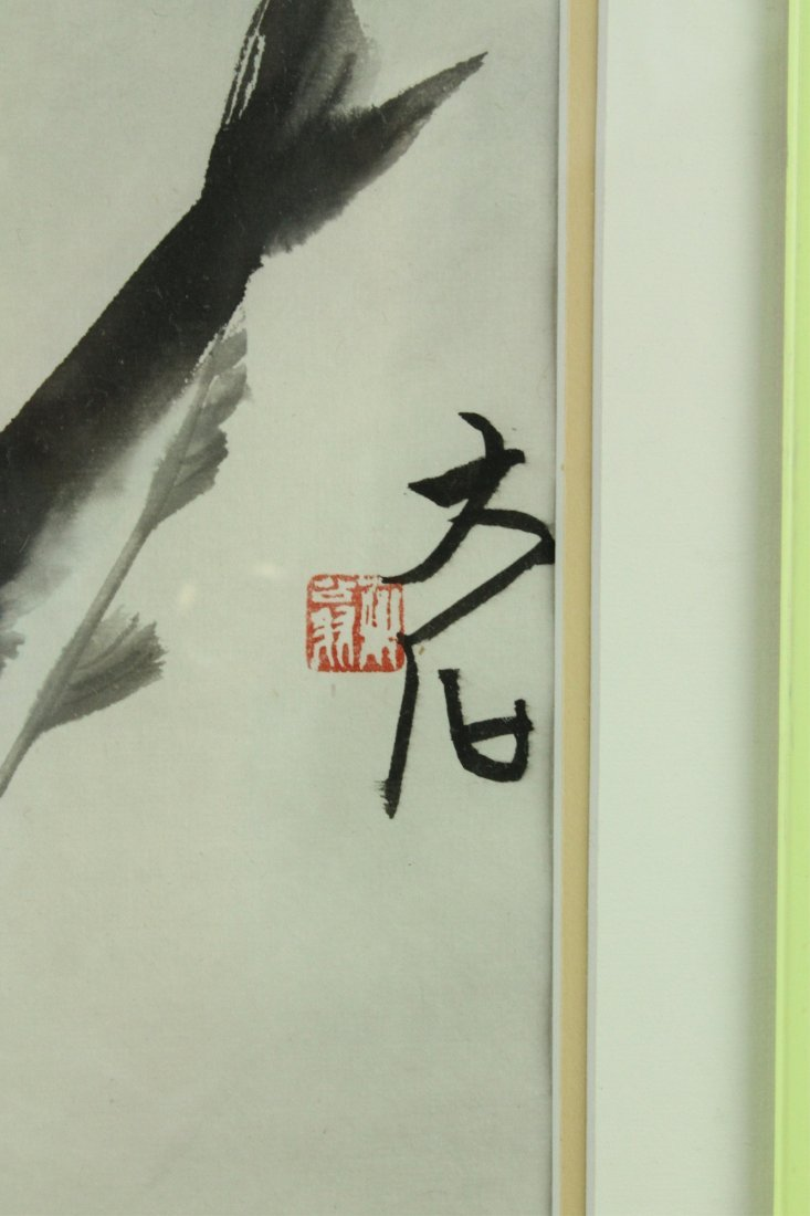WC Fish Painting Framed Qi Baishi 1864-1957 - 3