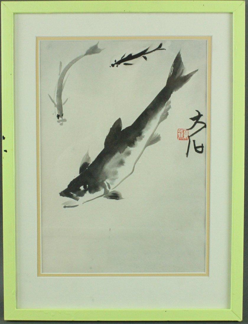 WC Fish Painting Framed Qi Baishi 1864-1957 - 4