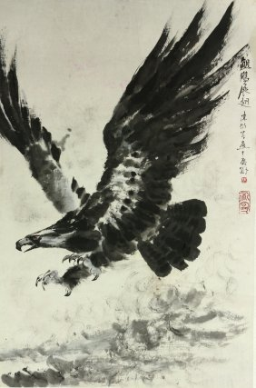Wc Eagle Painting Scroll Chen Yanning 1945-