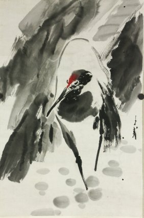 Chinese Wc Bird Painting On Scroll Wang Ziwu 1936-