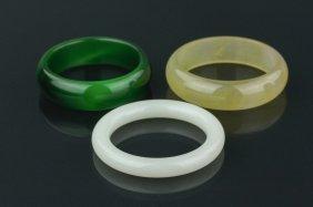 3 Pieces Of Hardstone Bangles