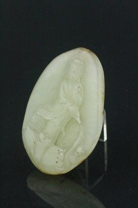 Chinese White Jade Carved Guanyin Pendant