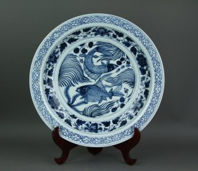 Yuan/ming Style Chinese Bw Porcelain Charger
