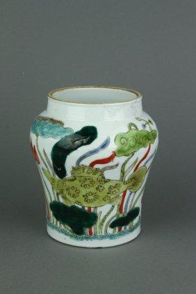 17/18th Century Chinese Wucai Porcelain Jar