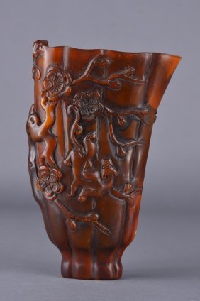 Chinese Horn Carved Libation Cup Chilong Design