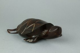 Chinese Rosewood Carved Turtle 2 Crackles