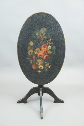 European Folding Pedestal Table Painted Flowers