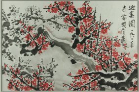 Watercolour On Paper Framed Guan Shanyue 1912-2000