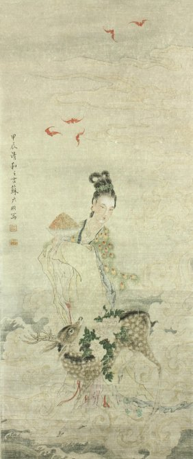 Chinese Beauty Women Painting On Scroll Print