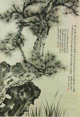 Watercolour On Paper Scroll Wu Hufan 1894-1968