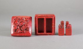 Chinese Red Hardstone Double Seal W/ Case