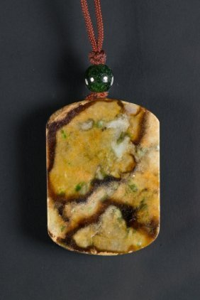 Chinese Three Colour Jadeite Carved Pendant