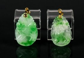 Pair Of Green Jadeite Carved Pendants W/ 18k Bails