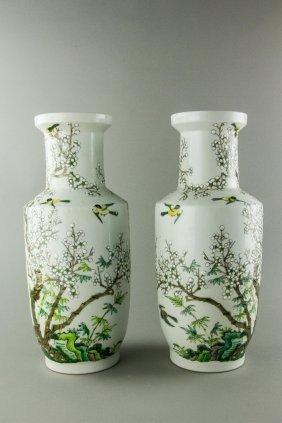 Pair Of Famille Verte Porcelain Vases Kangxi Mk