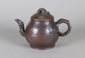 Chinese Zisha Teapot Signed Bamboo Form