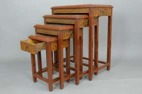 4 Pieces Chinese Hand Carved Teak Nested Tables