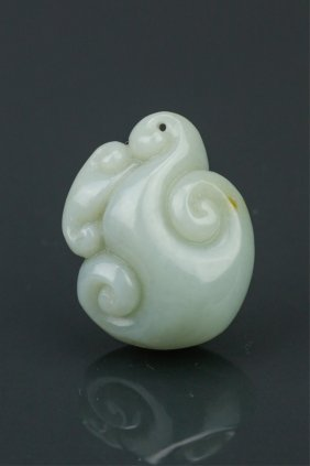Chinese White Jade Carved Lingzhi