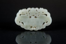 Chinese White Jade Carved Butterfly Pendant