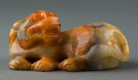 Fine Chinese Jade Carved Recumbent Chilong