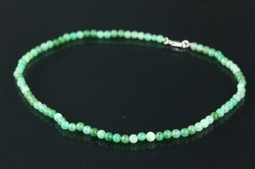 Sterling Silver Clasp Jade Necklace