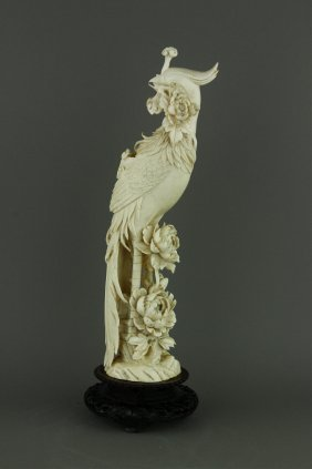 Qianlong Period Carved Ivory Of Phoenix Cites