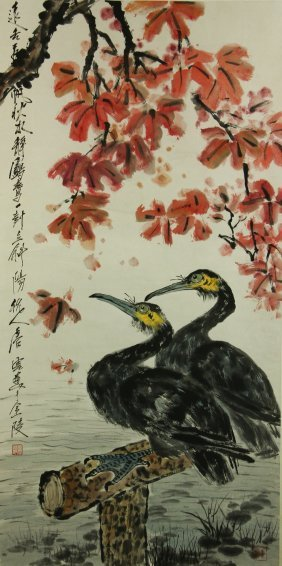 Watercolour On Paper Scroll Tang Yun 1910-1993