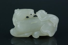 Fine Chinese White Jade Carved Horse And Monkey