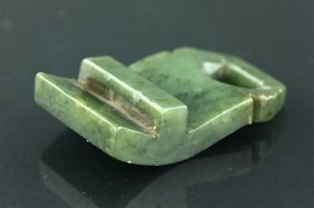 Chinese 19th C. Green Jade Carved Belt Hook
