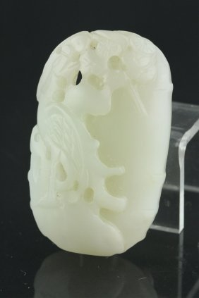 Chinese 18/19th C. White Jade Carved Bird Pendant