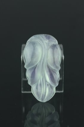 Chinese Icy Green Jadeite Leaf Pendant