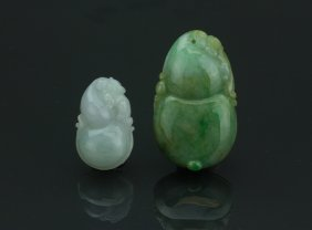 Two Pieces Chinese Green Jadeite Carved Pendants