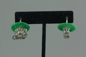 Chinese Green Jadeite Earrings
