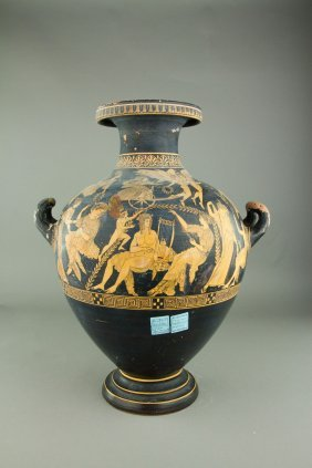 Greek Black Ground Handled Pottery Jar