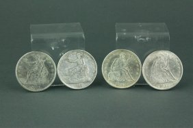 Four American Dollar Coins Dated 1842 & 1791
