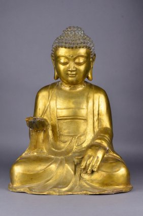 Chinese Qing Period Gilt Bronze Figure Of Guanyin