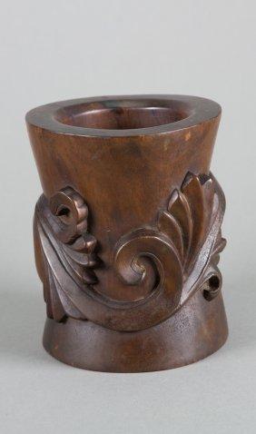 Chinese Hong Mu Rosewood Bitong Brush Pot