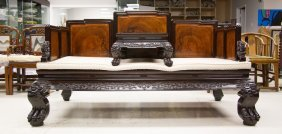Rosewood Opium Bed W/ Burl Wool Panel Insets