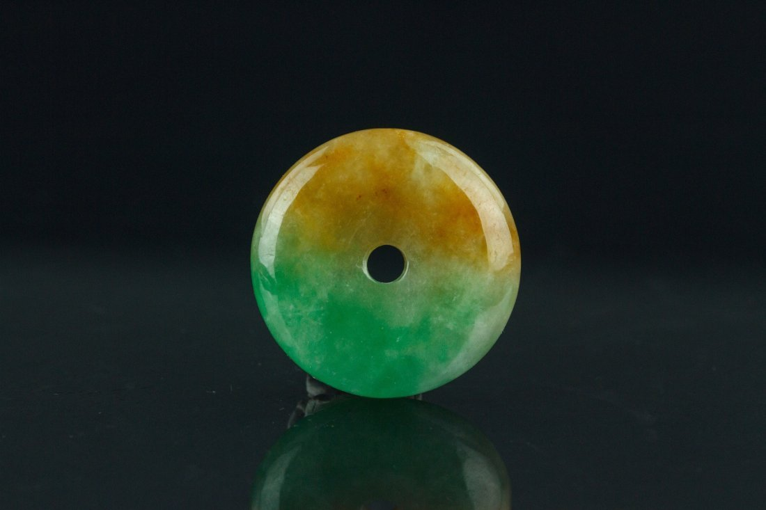Chinese Two Color Round Jade Pendant