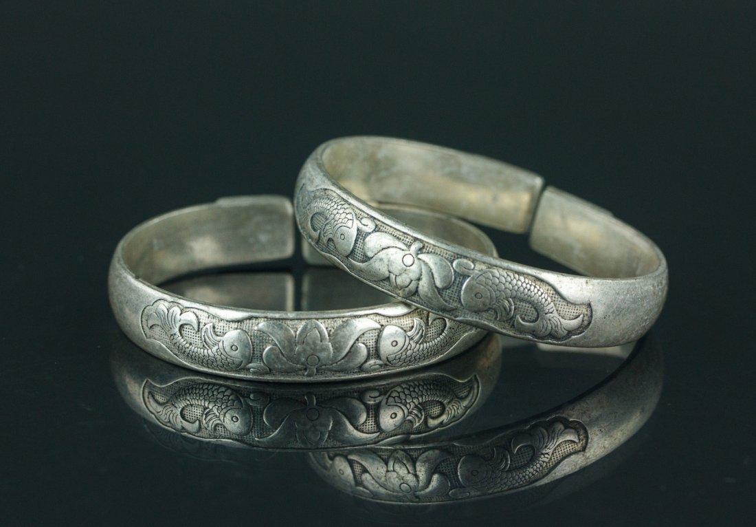 Pair of Chinese Silver Bangles Zu Yin Mark