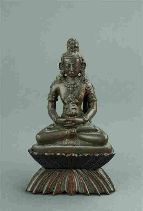 18/19th C. Chinese Bronze Gilt Buddha w/ Stand