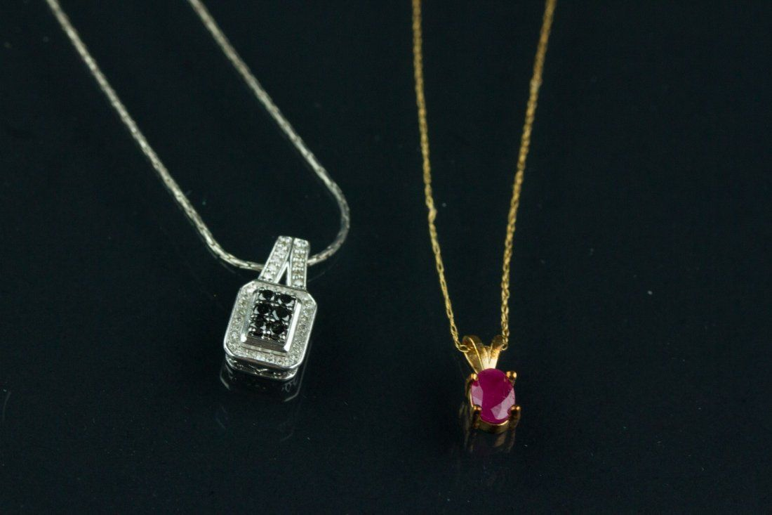 2 Pc Gold Ruby & Silver Diamond Necklaces w/ Cert