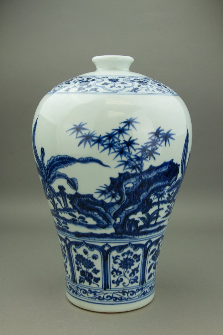 Chinese Blue & White Porcelain Meiping Vase - 2