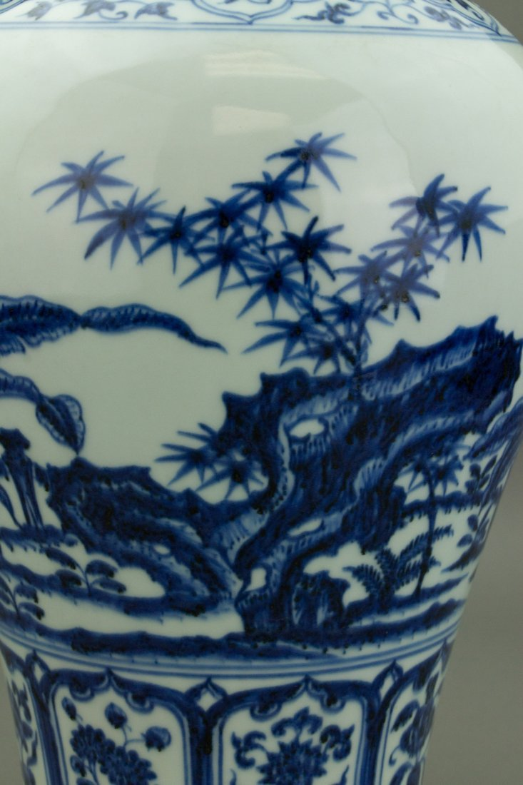 Chinese Blue & White Porcelain Meiping Vase - 3