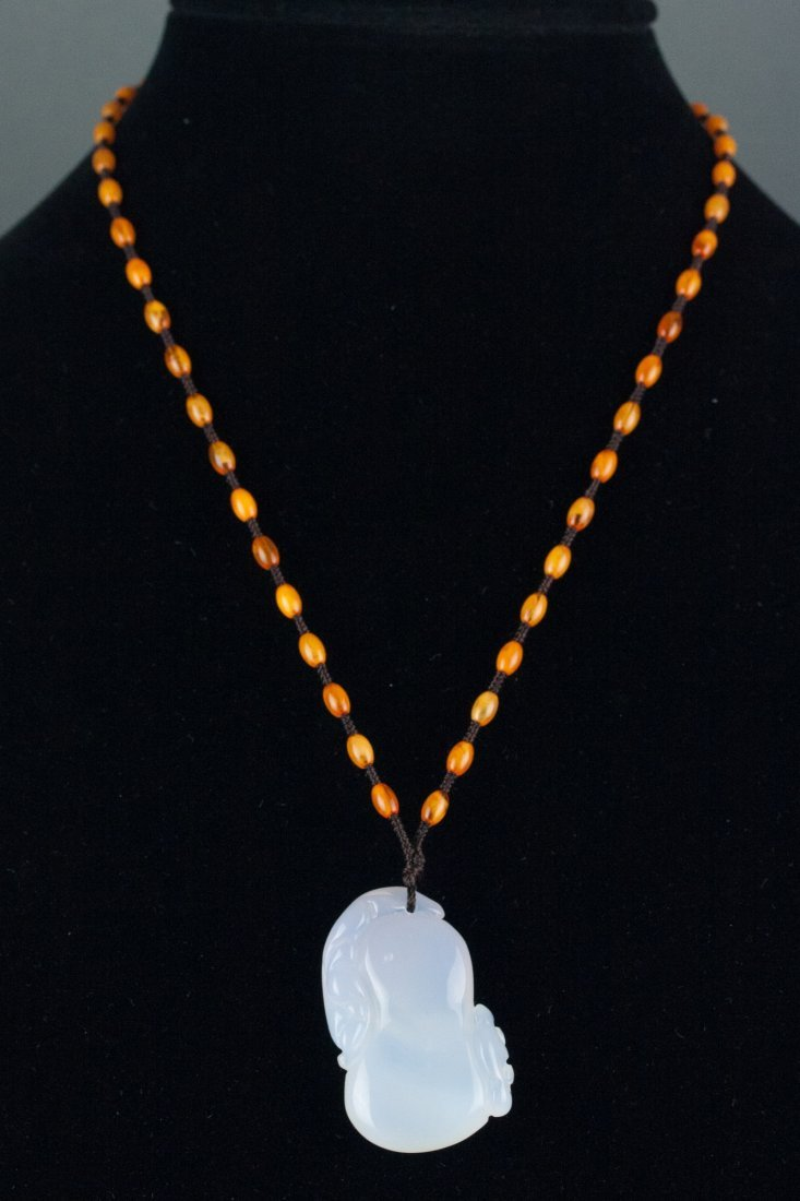 Chinese White Chalcedony Pendant w/ Certificate - 4