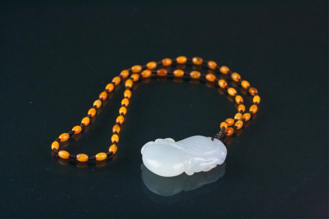 Chinese White Chalcedony Pendant w/ Certificate - 5
