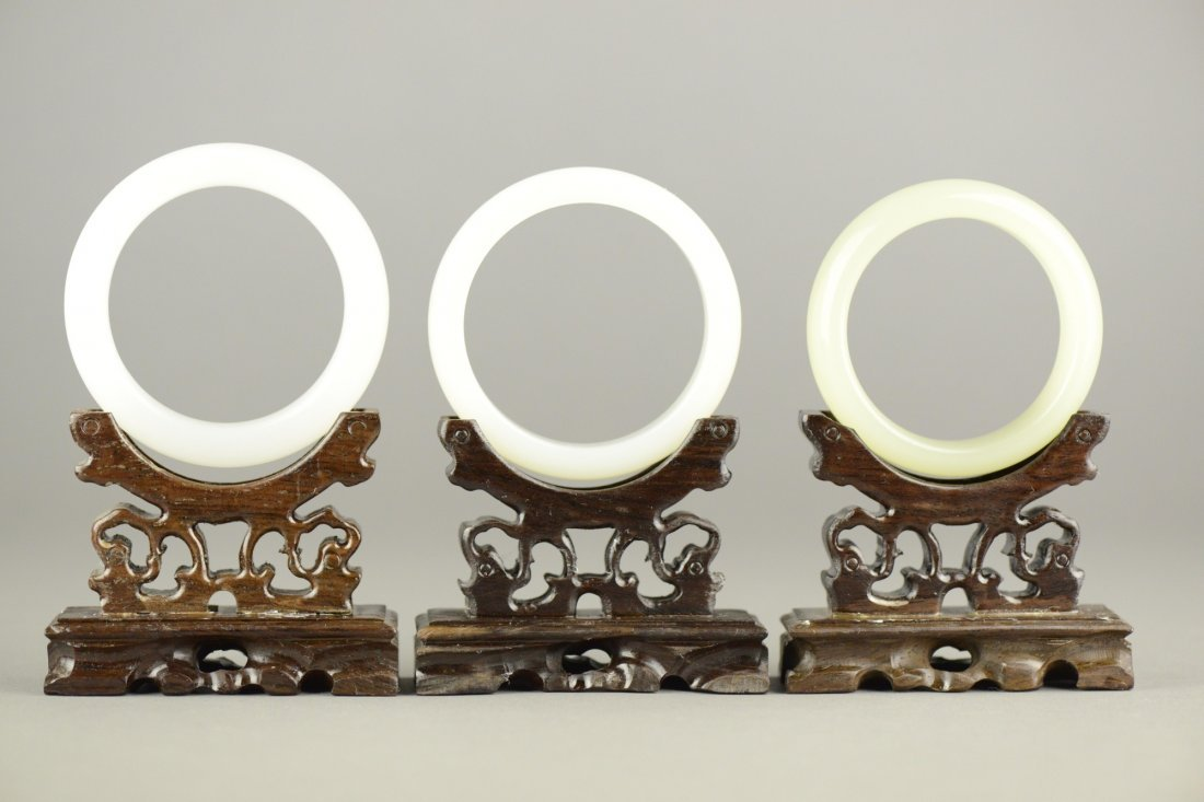 Three Pieces Of White Hardstone Bangle