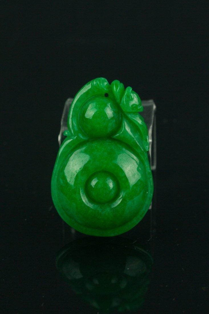 Chinese Emerald Green Jade Pendant - 3