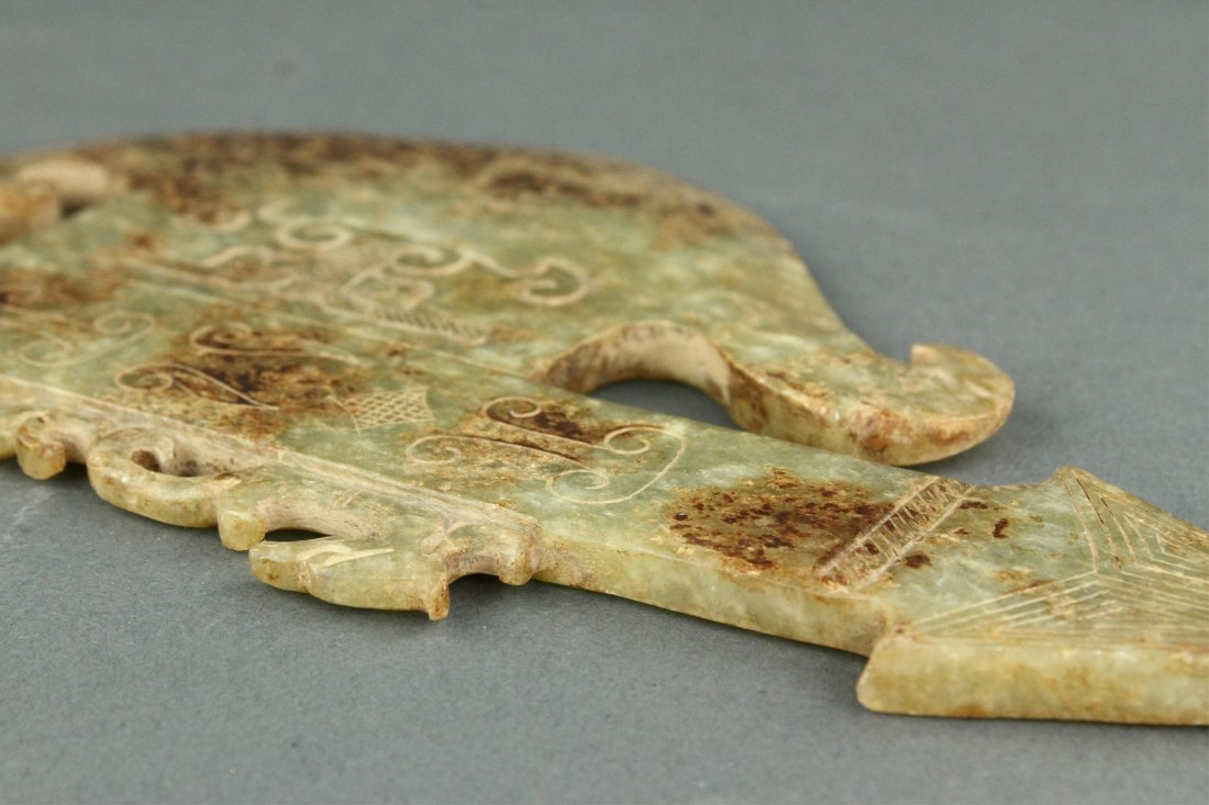 Chinese Archaistic Green Jade Carved Axe - 8