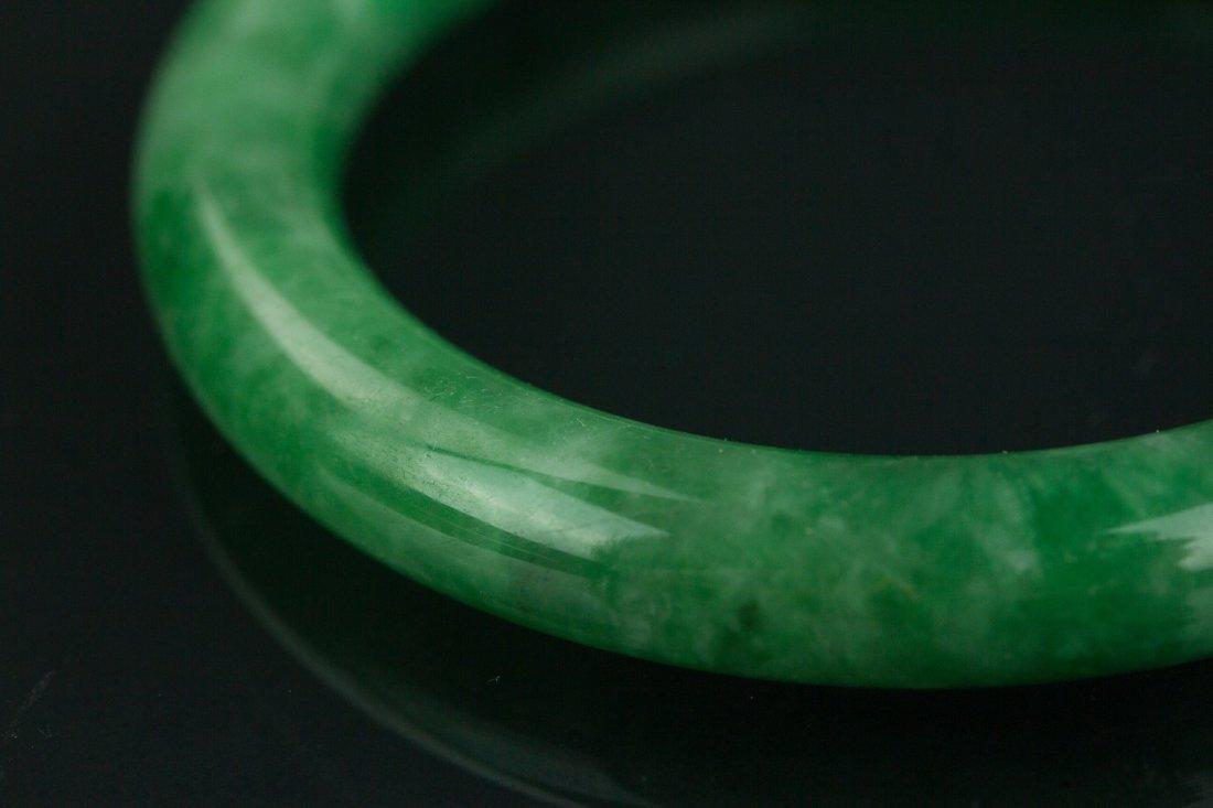 Chinese Grade A Green Jadeite Bangle w Certificate - 2